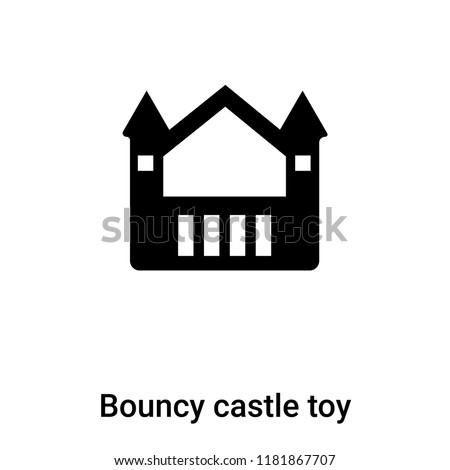Bouncy castle toy icon vector isolated on white background, logo concept of Bouncy castle toy sign on transparent background, filled black symbol