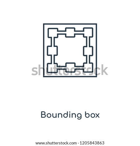 Bounding box concept line icon. Linear Bounding box concept outline symbol design. This simple element illustration can be used for web and mobile UI/UX.