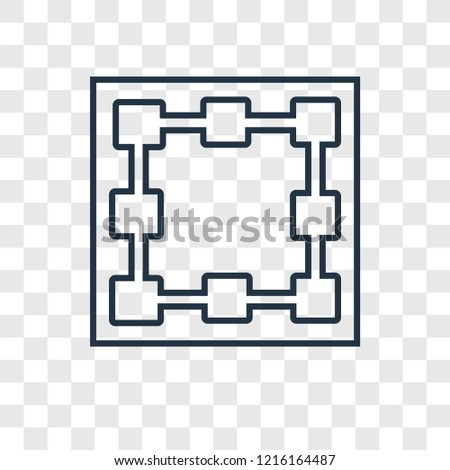 Bounding box concept vector linear icon isolated on transparent background, Bounding box concept transparency concept in outline style
