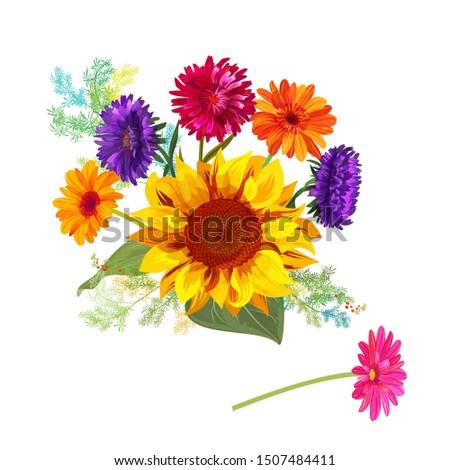 bouquet autumn flowers  yellow
