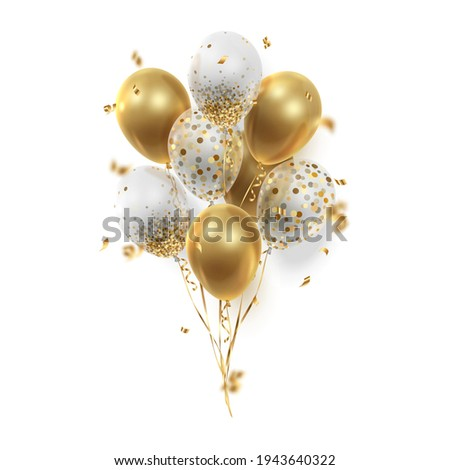 Bouquet, bunch of realistic transparent, golden ballons and gold ribbons, serpentine, confetti. Vector illustration for card, party, design, flyer, poster, decor, banner, web, advertising.