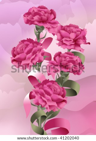 bouquet from five rose carnations with ribbons on a lilac background