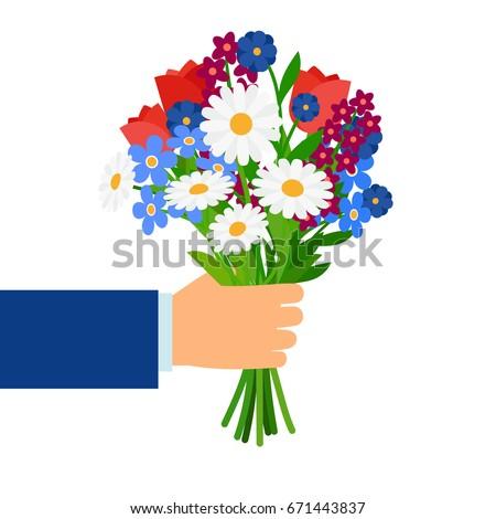bouquet in businessman hand