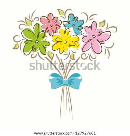 Bouquet of beautiful flowers. Floral background.