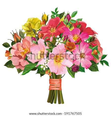 bouquet of colored roses tied with a ribbon
