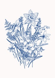 Bouquet of early spring flowers. Botanical Illustration engraving style. Vector. Blue.