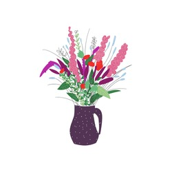 bouquet of flowers in the vase. hand drawn summer flowers,