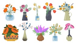 Bouquet of flowers set. Tulips buds, narcissus, lilac bunch with vases, jugs and glass bottles with water. Spring flowers, plants for decoration, blooming herbs isolated on white background