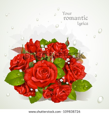 Bouquet of red roses with drops of dew. Romantic banner