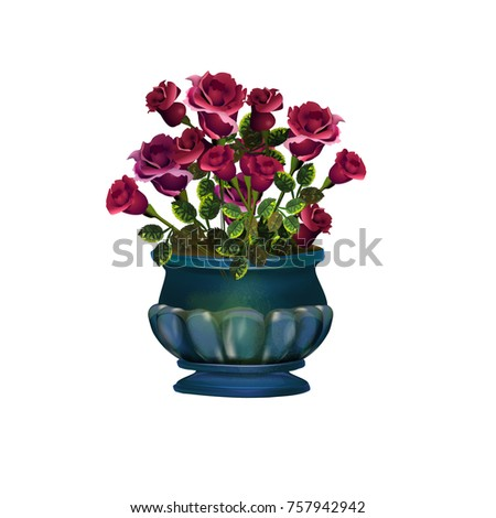 Bouquet of roses in vase #757942942