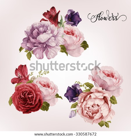 bouquet of roses  watercolor