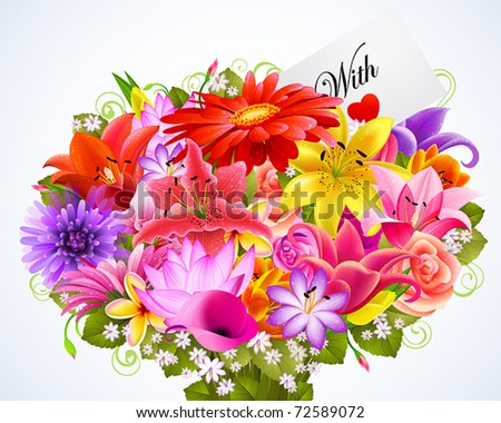 bouquet of tender flowers with greeting card