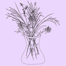 Bouquet of wild flowers in glass vase. Isolated illustration in handdrawn style, place for signature. Vector drawing in Scandinavian style on light background. For postcards, invitations, valentines.