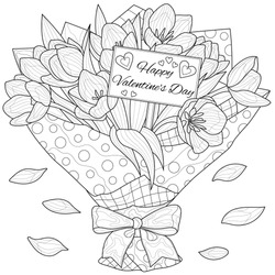 Bouquet tulips.Valentine's day.Flowers Coloring book antistress for children and adults. Illustration isolated on white background.Zen-tangle style. Black and white drawing