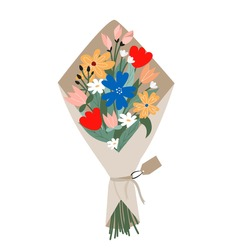 Bouquet with blooming flowers isolated on white background in trendy flat cartoon style. Vector illustration of hand drawn wild and garden flowers wrapped in craft paper for holidays, Birthday etc