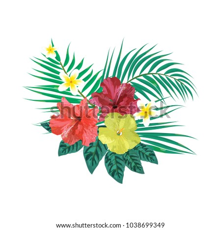 Bouquet with tropical plants. Set with isolated palm leaves and flowers. Vector illustration. Design for invitation, prints, cards.