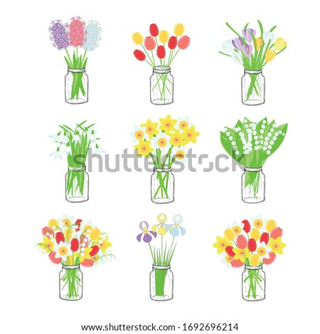bouquets of spring flowers in a