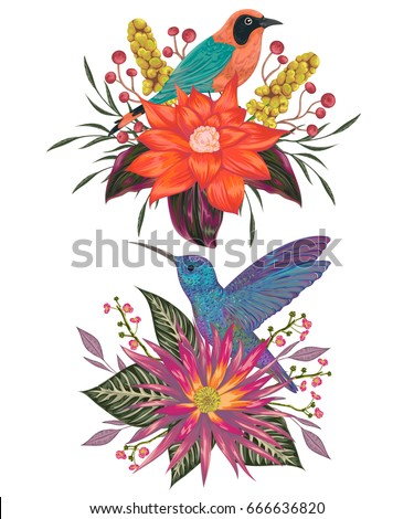 Bouquets with tropical birds, flowers,berries and leaves. Exotic flora and fauna. Vintage hand drawn vector illustration in watercolor style