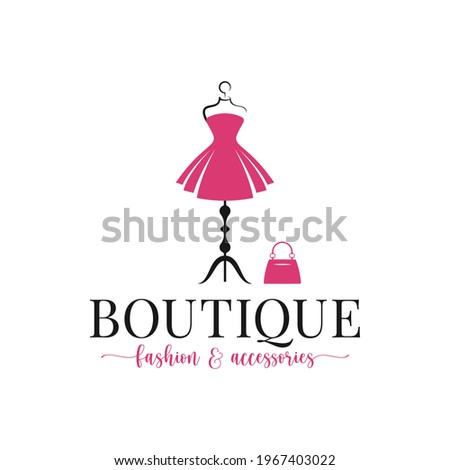 Boutique fashion and accessories logo. Mannequin dress and handbag on white background Сток-фото ©