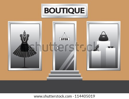 Boutique front. Exterior shop windows with mannequin, shoes, bag and glasses