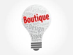 Boutique light bulb word cloud collage, concept background