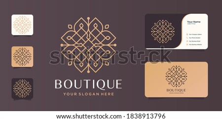 boutique minimalist line art design.elegant monogram template,elegant,business card.Premium Vector