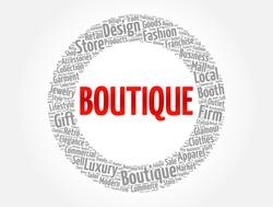 Boutique word cloud collage, concept background