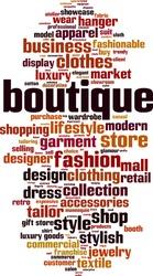 Boutique word cloud concept. Vector illustration