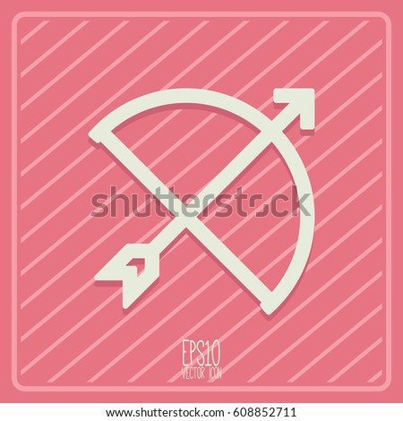 Bow and arrow icon. Flat style for graphic and web design, Modern simple vector sign. Internet concept. Trendy symbol for website design web button, mobile app.