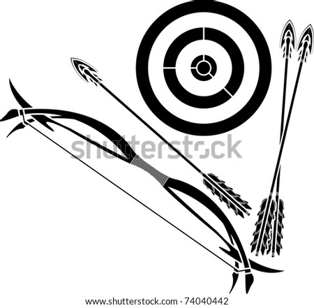 bow and target. stencil. vector illustration