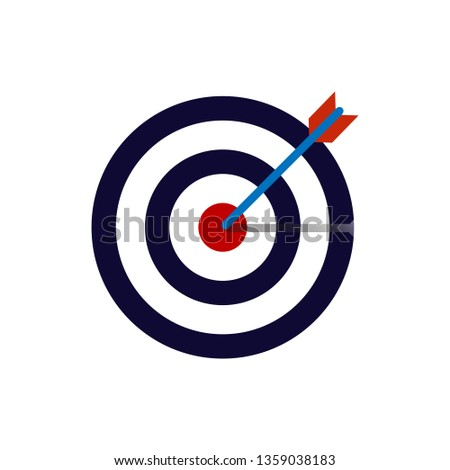 36774afd585 Bow, center, focus, target icon. Vector illustration, flat design.