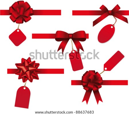 Bow collection with price tag. Vector