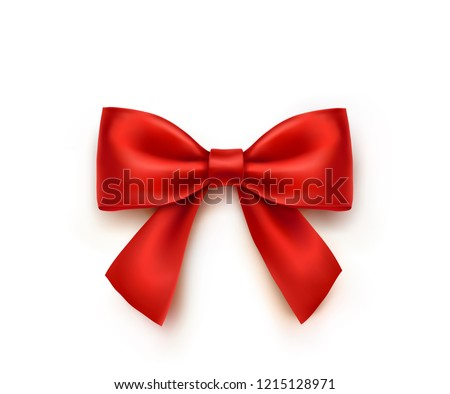 Bow isolated on white background. Vector Christmas red satin bow with shadow, xmas wrap element template.