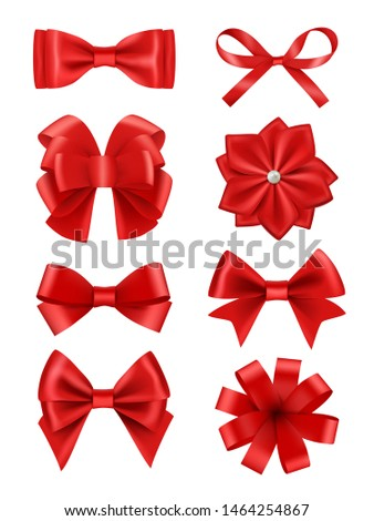 Bow realistic. Ribbons for decoration hair bow celebration party items vector collection. Illustration of red bow ribbon, satin silk tie
