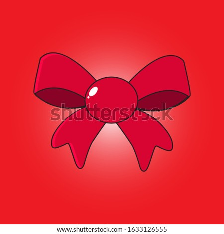 Bow. Red bow. Colorful bow. Vector illustration. EPS 10.