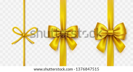 Bow set isolated on transparent background. Vector Christmas gold satin bows with ribbons, golden xmas wrap elements template.