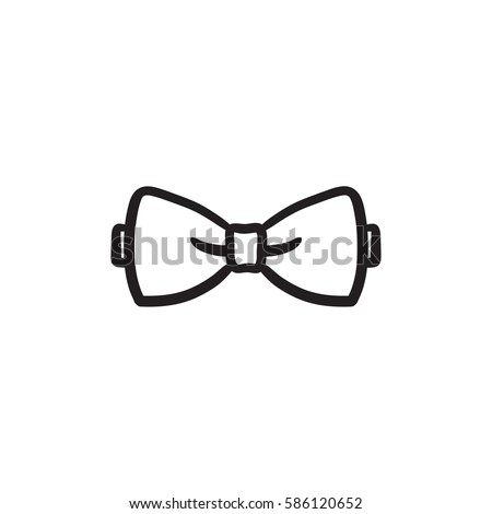Bow tie sketch icon for web, mobile and infographics. Hand drawn bow tie icon. Bow tie vector icon. Bow tie icon isolated on white background.