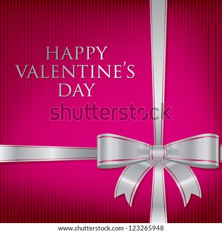 Bow Valentine's Day Card in vector format.