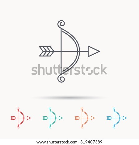 Bow with arrow icon. Valentine weapon sign. Linear icons on white background. Vector
