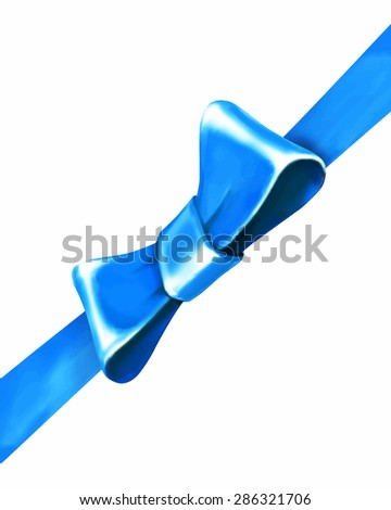 bow with ribbon  blue vector