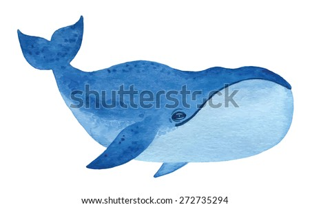 Bowhead whale  - hand drawn watercolor vector illustration