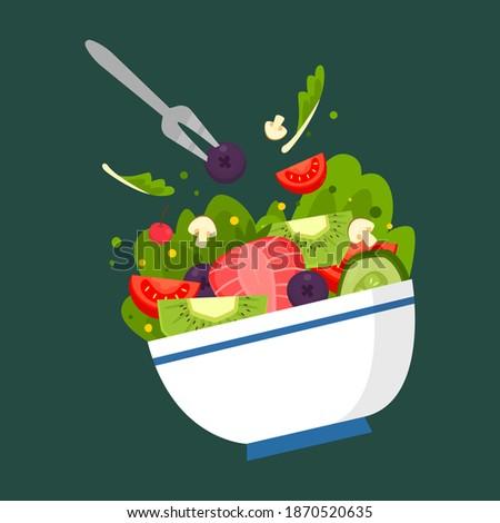 Bowl fruit, vegetable salad. Green and vegan lifestyle. Fruit salad. Plate of vegetable food. Eco-friendly nutrition. Healthly food vector illustration.