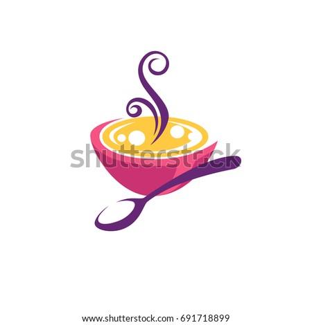 bowl full of hot, home made soup, vector logo, symbol, emblem
