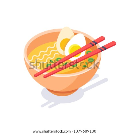 Bowl of chicken noodle soup and chopsticks. Asian fast food. Asian, Chinese, Japanese ramen in bowl and couple of chopsticks, isometric vector illustration isolated on white background.