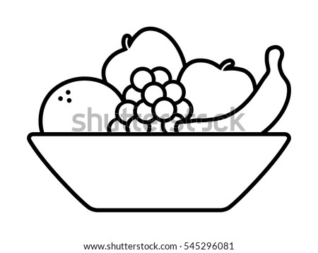 Bowl of fruit / fruits with orange banana grapes and apples line art icon  sc 1 st  Vecteezy & Vector Fruit Bowl Illustration - Download Free Vector Art Stock ...