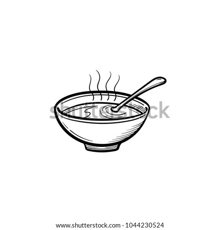 Bowl of hot soup hand drawn outline doodle icon. Miso soup vector sketch illustration for print, web, mobile and infographics isolated on white background.