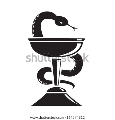 Bowl of Hygieia Pharmacy Store Symbol. Editable.