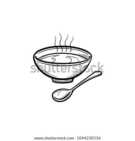 Bowl of soup with spoon hand drawn outline doodle icon. Hot soup in bowl vector sketch illustration for print, web, mobile and infographics isolated on white background.