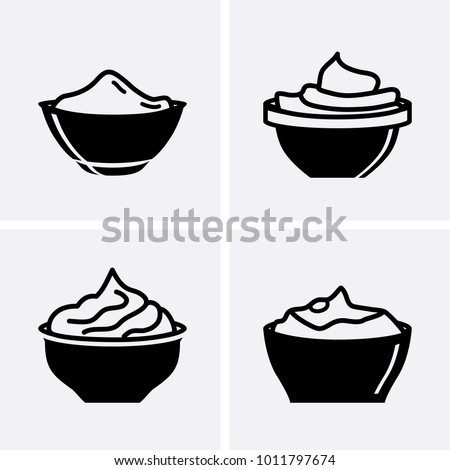 Bowl Sauce for mayonnaise, ketchup, yogurt and cream Icons. Vector set
