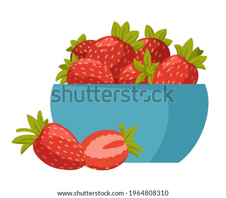 Bowl with fresh sweet strawberries isolated on white background.  Fresh, organic berries. Healthy and beneficial product. Gardening or horticulture concept. Vector illustration. Photo stock ©